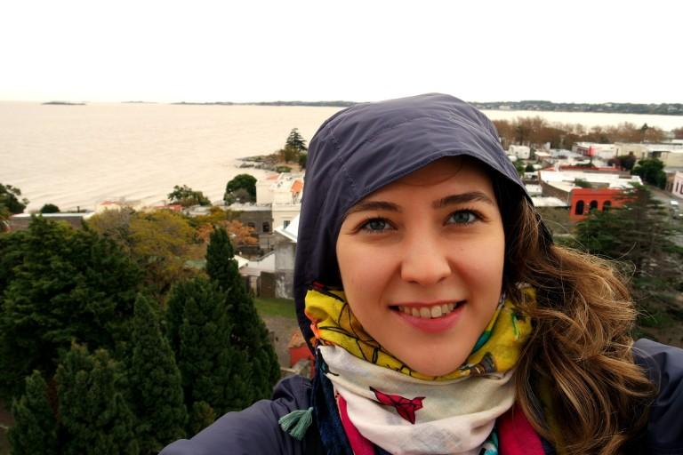 Rio de Plata nehrinin manzarası, El Faro'nun en tepesinde püfür püfür rüzgarı :)